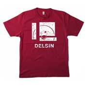 Delsin - Label Stamp, Dark Red w/ White Print