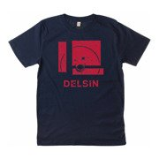 Delsin - Label Stamp, Denim Blue w/ Red Print